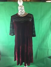 MESH INSERT BURGUNDY VELVET SWING DRESS SIZE 18 3c9c9225c