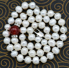 """NEW 7-8MM WHITE PEARL 10MM RED RUBY NECKLACE 18"""""""