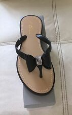 Brand New Boxed Ladies/Girls Black Jelly Sandals with Diamante Bow Size 3