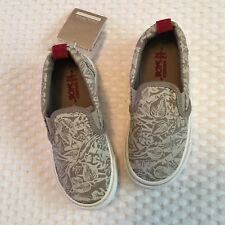 Zara Toddler Boys Tennis Shoes Sz 9 9.5 Taupe Leaf Print Kids Slip On Sneakers