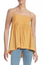 FREE PEOPLE Blackbird Embroidered Camisole Top Open Back Mango Orange ~ size S