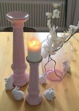 Shabby Chic großer Kerzenständer Kerzenleuchter Altrosa Craquel