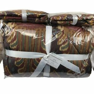 Pottery Barn Brennan Ikat Bedding Queen Comforter 2 Euro Shams Quilted Cotton