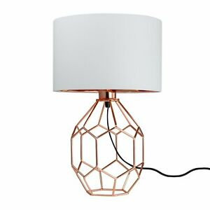 Modern Copper 42cm Table Lamp Bedside Light Geometric Lamp with White Shade