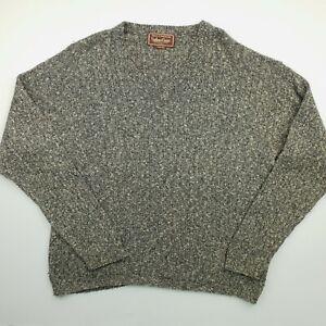Marlboro Classics Mens Vintage Jumper MEDIUM Grey Wool Blend Sweater BAGGY FIT