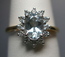 Brand New 18 Karat Two-tone Gold Genuine Aquamarine & Diamond Ladies Ring
