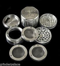 "ERGO 2.50"" Aluminum 4 Piece herb GRINDER SET w/3 MAGNETIC REMOVABLE SCREENS 63mm"