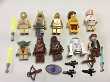 LEGO lot of 10 Star Wars Good Guy Minifigs Yoda Luke Leia Han R2-D2 Chewie Q461M