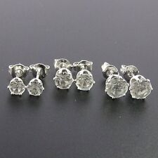 925 Sterling Silver Plated Set Of 3 Stud Earrings, 4mm, 5mm, 6mm Crystal.