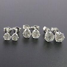 Silver Plated Set Of 3 Stud Earrings, 4mm Crystal, 5mm Crystal, 6mm Crystal.