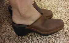 NATURAL SOUL BY NATURALIZER WOMENS CLOGS SIZE 9.5M WALNUT LEATHER HELGA STYLE