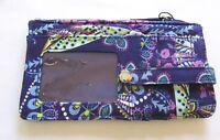 Vera Bradley Batik Leaves Ultimate Card Case Wallet quilted floral purple pink