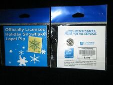 """USPS Postage Stamp Pin - Christmas - 39 Cents - 1""""Snowflake - MIP"""