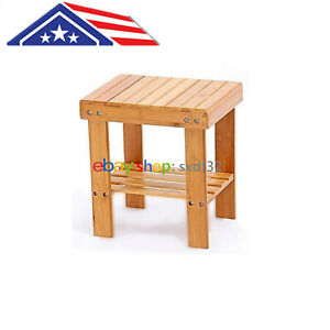 28cm Bamboo Shower Seat Bench Bathroom Spa Bath Organizer Stool Storage Shelf