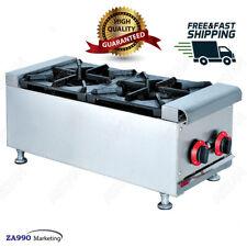 Commercial 2 Burner Gas Range Hot Plate Countertop Range Stove Cooker