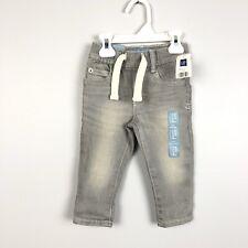 Baby Gap Boys Slim Fit Jeans Gray Elastic Waist Size 12-18 Months