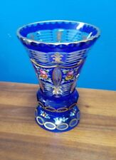 "French vintage RARE crystal hand painted enamel cobalt vase 5-7/8"" tall"