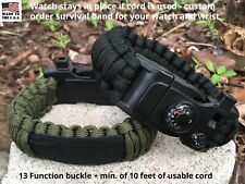 Green Camo Black Survival Paracord Watch Band for Smartwatch, Seiko, Citizen +