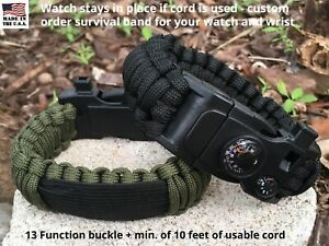 20 mm to 26 mm Green Camo Black Survival Paracord Watch Band 15 in 1 Buckle