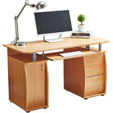 RayGar Beech Computer Desk With Cabinet and 3 Drawers for Home Office PC Study