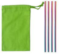 Metal Drinking Straw Straight UK Supplied - Rainbow x 4