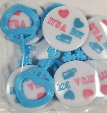 IT'S A BOY BABY RATTLE SHOWER PARTY FAVORS GENDER REVEAL LOT OF 24 NEW SEALED