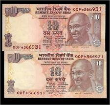 RS.10/- Star/ Replacement Issue TWIN SET Same Number 2 Notes GEM UNC UNIQUE