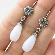 925 Sterling Silver Natural Chalcedony Gemstone Drop Earrings