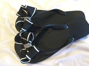 Bow Flip Flops/Black Flat Flip Flops/Black/White Striped Bow