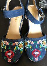 Skechers Floral Denim Platform Heel Sandal Shoes Sz 8