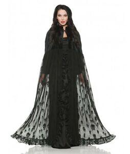 Velvet Skull Cape Black Sheer Mesh Adult Men Women Halloween Costume Accessory