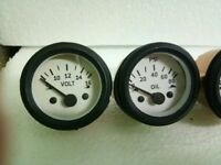 "2"" / 52mm Electrical Oil Pressure Volt Gauge -White Face Black Bezel"