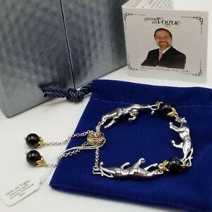 Gems en Vogue Sterling Panther & Onyx Beads, Adjustable Slide Bracelet Valitutti