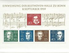 Scott 804 / Germany Michel Block 2: 1959 Beethoven Composer Souvenir Sheet VF-NH