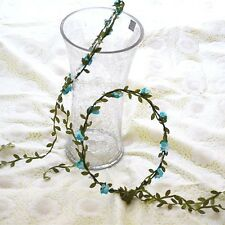 Rose Flower Crown Headband Hair Garland Beauty Bride Wedding Headwear Blue