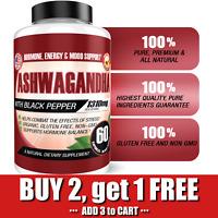 Organic Ashwagandha Capsules 1310mg Highest Potency w/ Black Pepper Root Powder