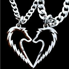 2PCS Friends Couple Stainless Steel Men Women Wolf Pendant Necklace Jewelry Gift