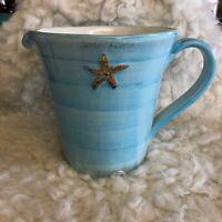 Potterybarn Pottery Barn PB Starfish Collection Blue Ceramic Pitcher