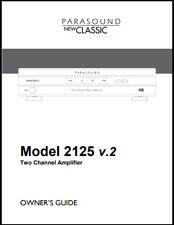 Parasound Model 2125 v.2  Amplifier Owner's Manual - Operating Instructions