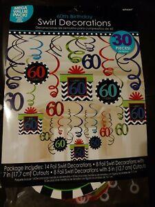 60th Birthday Swirl Decorations 30 ct - NEW