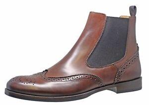 Gallucci 5078 Stiefeletten Chelsea Boots Leder Budapester Cognac Gr. 37-41 Neu