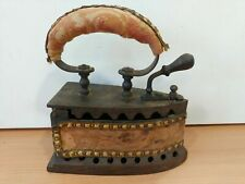 More details for antique victorian hot coal iron with fabric trimming. superb, rare item