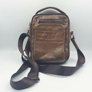 Laoshizi-Luosen Mens Brown Grainy Leather Small Messenger Cross Body Bag