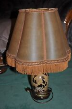 Lampe électrique ancienne - Abat-jour - Pied céramique - Old electric lamp