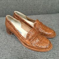 Via Spiga Womens Brown Tan Woven Leather Loafers Vintage 90s? Italy 6.5