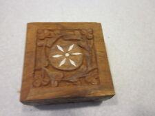 """3"""" BY 3"""" Vintage Hand Carved Wood Trinket Box, Hinged Lid, Ornate, Inlays"""
