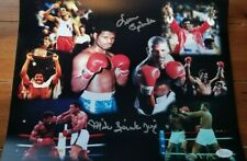 Michael Spinks and Leon Spinks duel signed 11x14 career highlights photo JSA COA