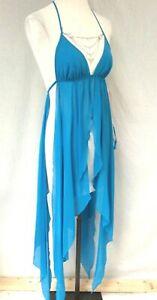Blue Jewelled Gown Petals Dress Sheer L UK 14