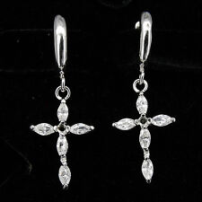 Cross Symbol Faith 18K W Gp White Gold Plated Cz Drop Earrings Pairs Jewelry 1""
