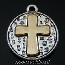 20PCS Antiqued Style Silver Alloy Gold Cross Charms Pendant Findings 50079